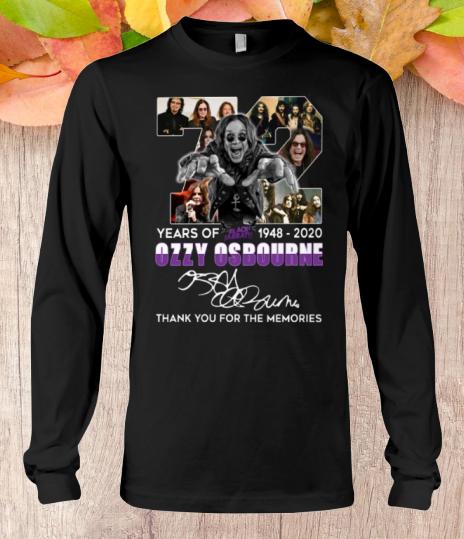 72 Years Of Black Sabbath 1948 2020 Ozzy Osbourne long sleeve tee
