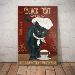 Black Cat Coffee Company Purrrfectly Delicious canvas