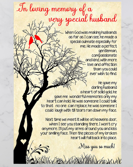 IN LOVING MEMORY OF A VERY SPECIAL HUSBAND poster