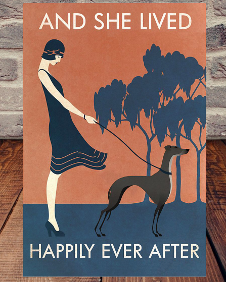 Vintage Girl She Lived Happily Greyhound poster