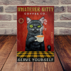 Whatever Kitty Black Cat Coffee Company Serve Yourself canvas