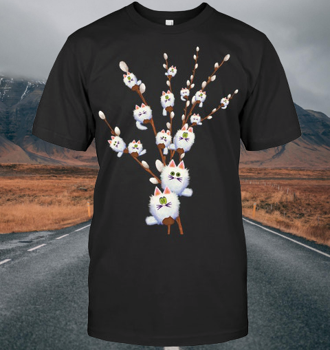 White Cat Willow Flowers shirt