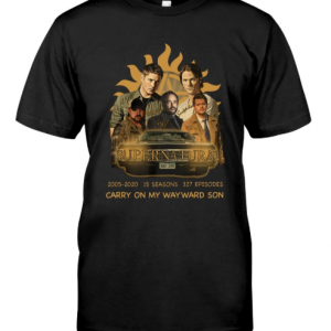 Supernatural 2005-2020 15 seasons 327 episodes carry on my wayward son shirt