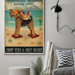 Airedale Terrier Beach Life Sandy Toes salty kisses