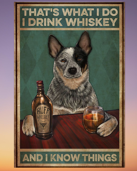 Cattle Dog that's what I do I drink Whiskey and I forget things poster