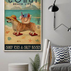 Corgi Beach Life Sandy Toes salty kisses Poster