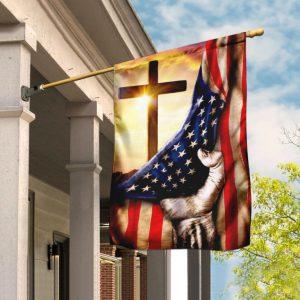 Cross US American flag