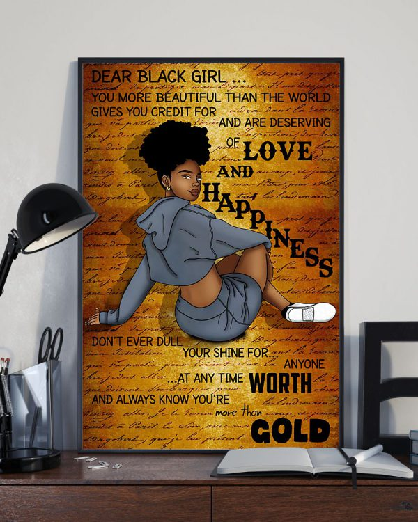 Dear black girl love and happy poster