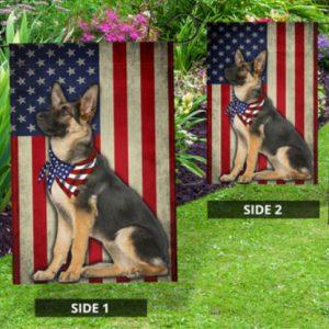 Dog german shepherd US Amerian flag