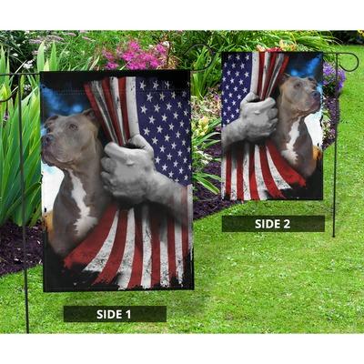 Pitbull dog US American flag