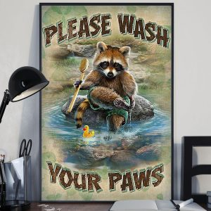 Raccoon please wash your hands poster