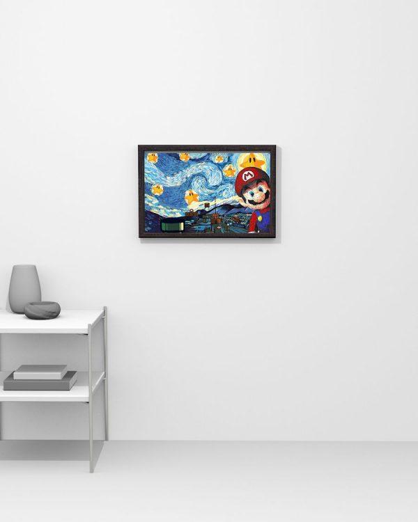 Super Mario Starry Night Van Gogh Poster