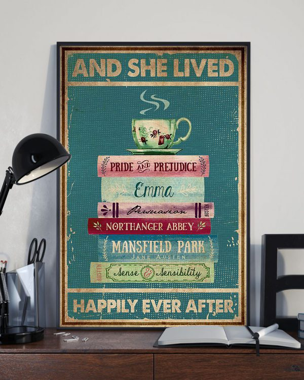 Book and tea And she lived happily ever after poster