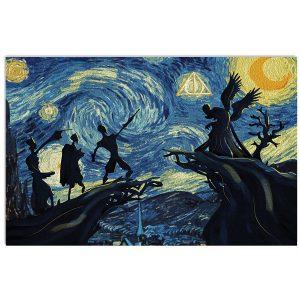 Deathly hallows Harry potter starry night Van Gogh poster