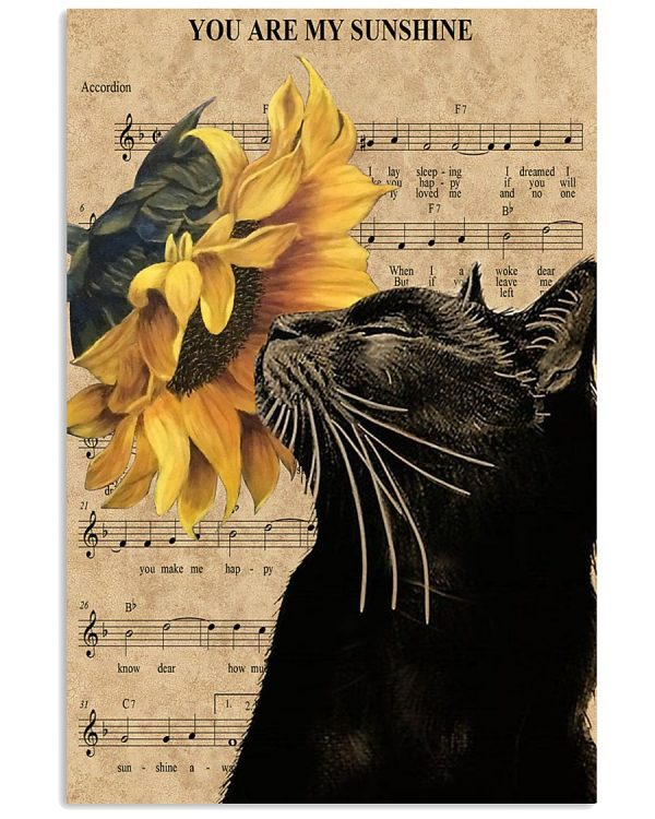 Cat sunflower you are my sunshine poster