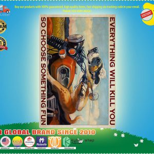 Dachshund and cat motorcycle everything will kill you so choose something fun poster