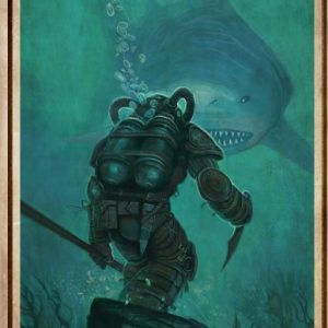Diver and Shark everything will kill you so choose something fun poster