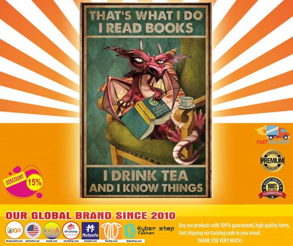 Grumpy Dragon Thats what I read books I drink tea and I know things poster