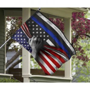 Police back the blue American flag