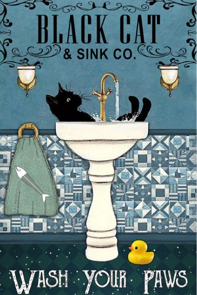 Poster Cat and sink co wash your paws