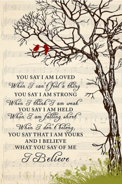 You say lyrics I am loved when I can't feel a thing poster
