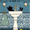 Black cat and sink co. wash your paws poster