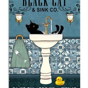 Black cat and sink wash your paws poster