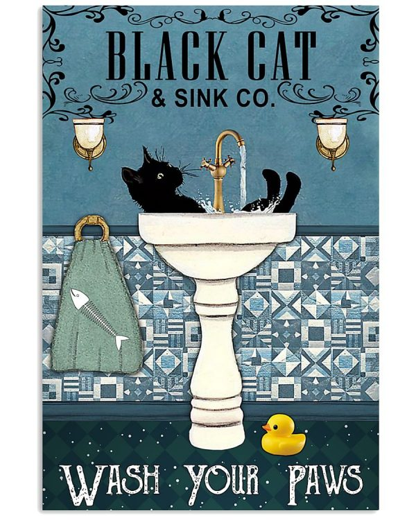Black cat wash your paws poster