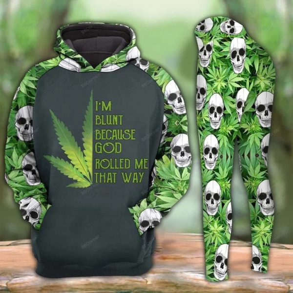 Cannabis skull I'm blunt because god rolled me that way 3d hoodie and legging
