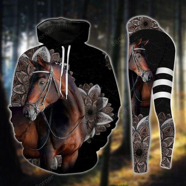 Dark brown horse hoodie and legging