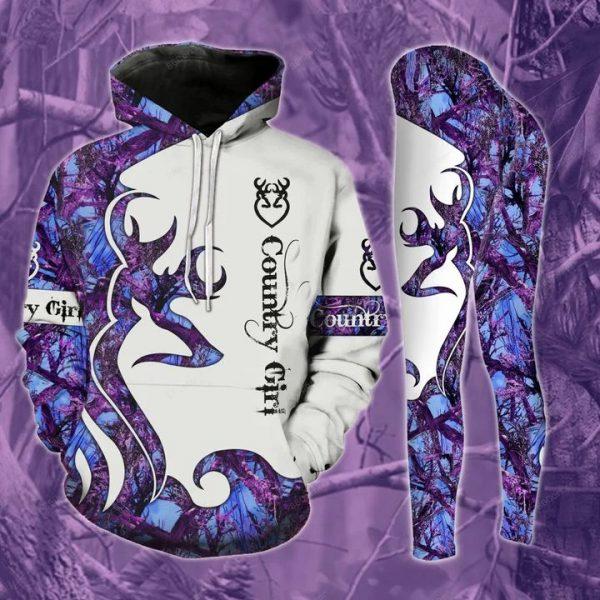 Deer country girl 3d hoodie and legging
