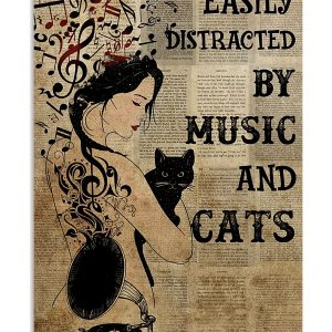 Easily distracted by music and cats poster