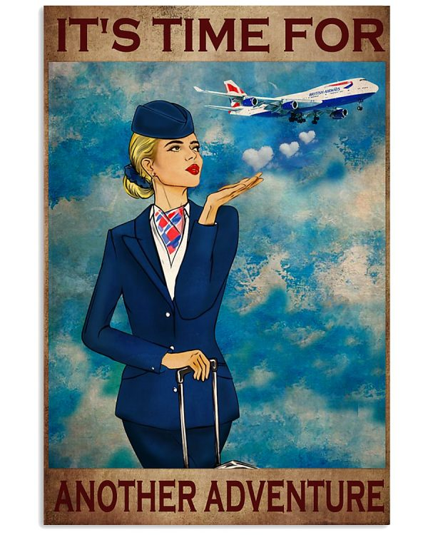 Flight attendant It's time for another adventure poster