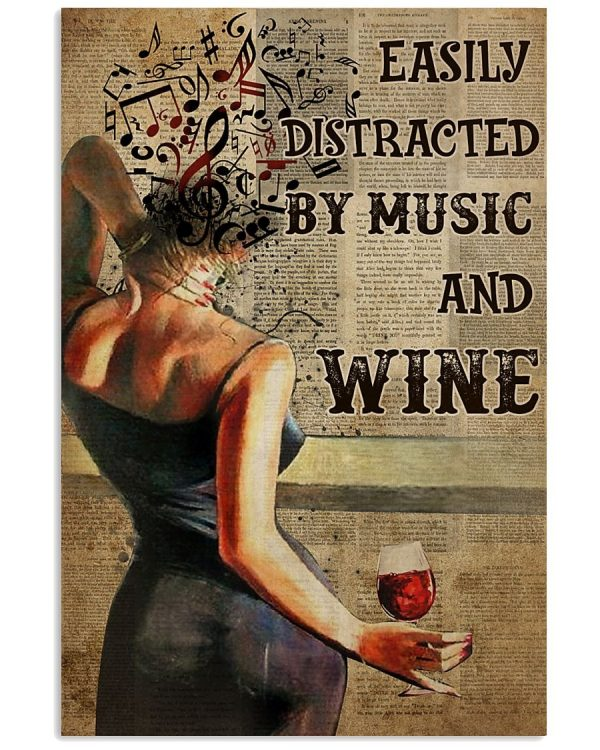 Girl Easily distracted wine and music poster