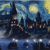 Hogwarts Starry Night Van Gogh poster