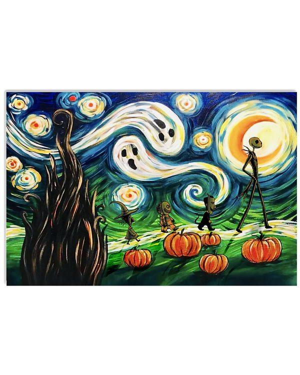 Jack Skellington Starry night halloween poster