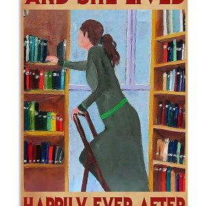 Librarian book and she lived happily ever after poster