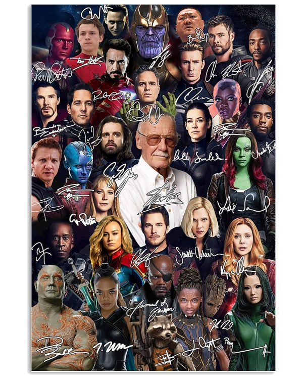 Marvel Avengers signatures poster