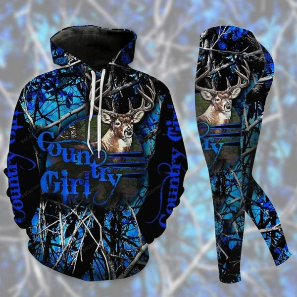 Moose country girl 3d hoodie and legging