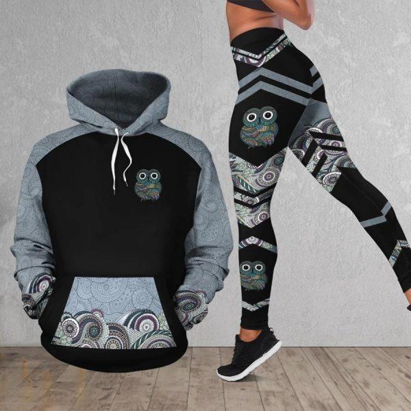 Owl pattern 3d hoodie and legging