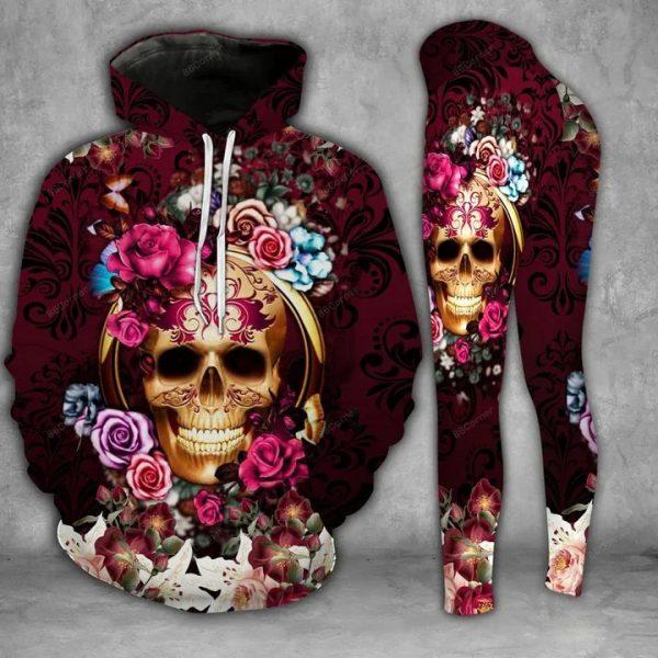 Purple skull flower 3d hoodie and legging