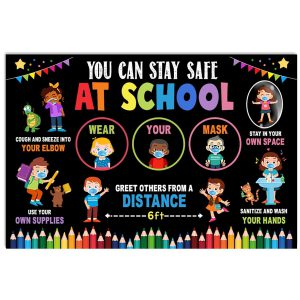 You can stay safe at school greet others from 6 feet poster