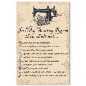 You shalt not in my sewing room poster