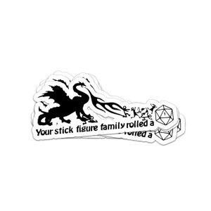 Your stick figure family rolled a dungeons and dragon sticker