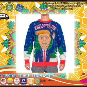 3D Trump Hair Make Christmas Great Again Ugly Sweater
