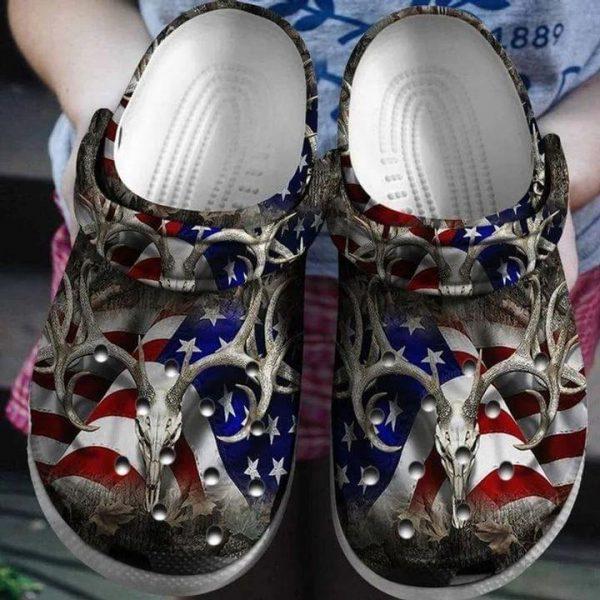 American flag deer hunting croc shoes crocband clog