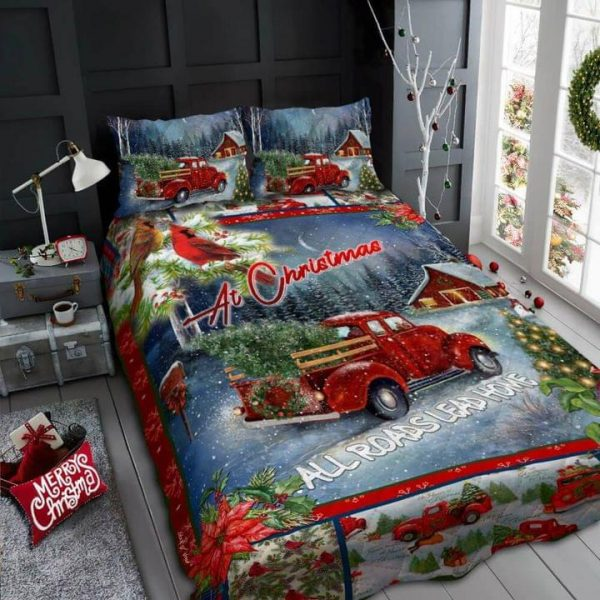 At christimas all roads lead home quilt BEDDING SET
