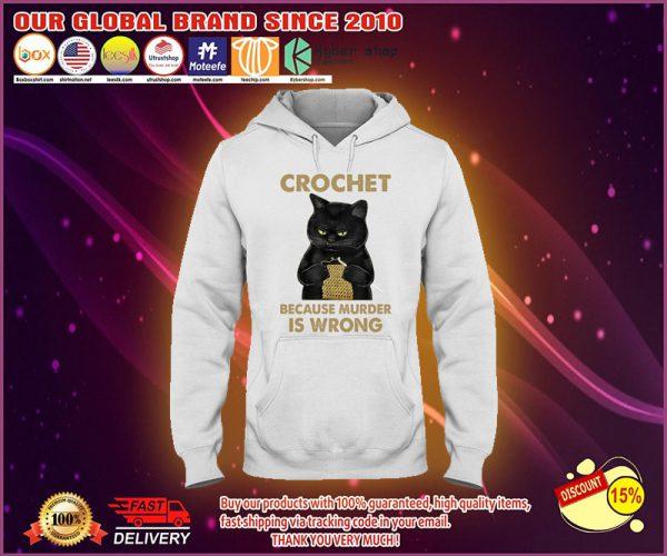 Black cat crochet because murder is wrong hoodie
