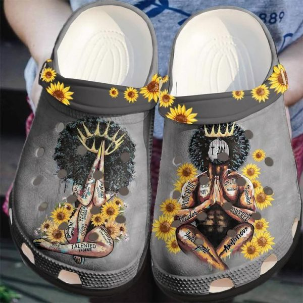 Black king and queen crocs shoes crocband