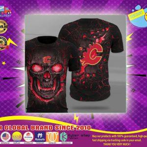 Calgary flames lava skull full printing shirt